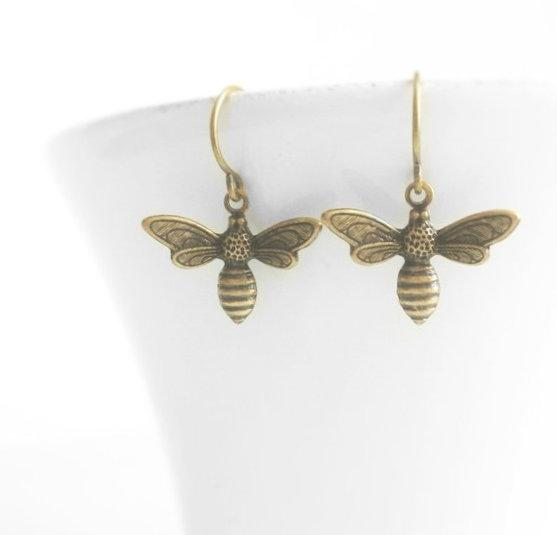Bee Earrings - little antique brass / bronze honey bee charm dangle on small dainty hooks - simple sweet lightweight bumblebee - BUZZ