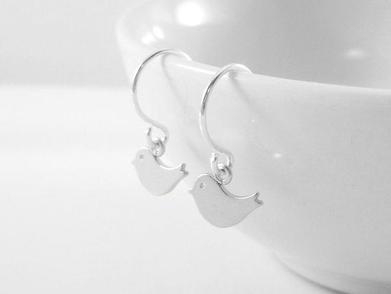 Tiny Bird Earrings - Extra small silver birds with matching simple minimalist ear hooks - Bitty Babies