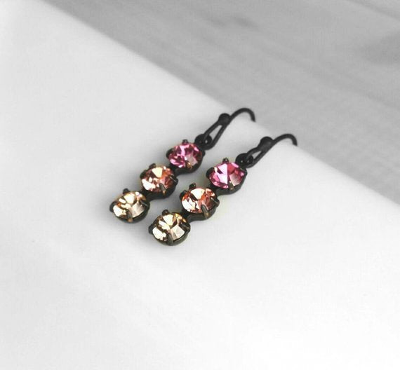 Pink Crystal Earrings - dainty ombre shades Swarovski crystal hot fuchsia / pale rose / champagne peach - black brass simple small hooks
