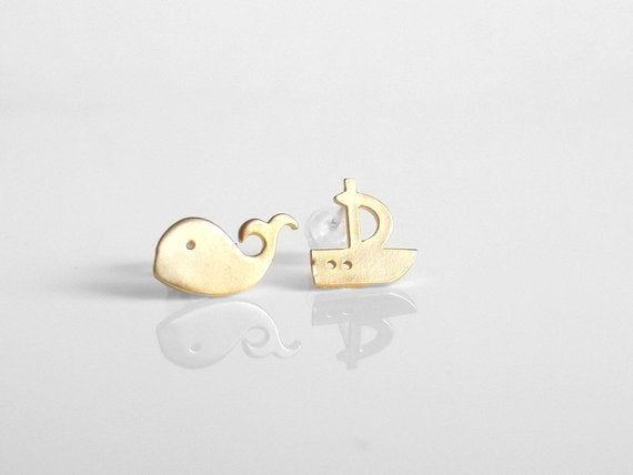 Whale Boat Earrings - fun little mismatched sailboat fish studs in matte gold or rhodium - .925 sterling silver ear posts - Moby Dick Sailor