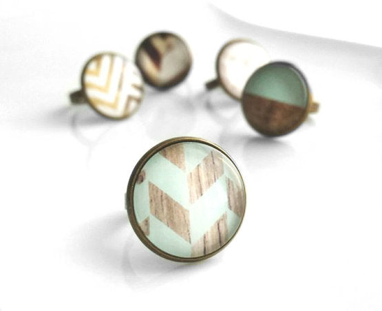 Mint Ring - wood grain pale aqua blue chevron checkerboard pattern photo under glass dome - antiqued brass adjustable band 6 7 8 modern hip