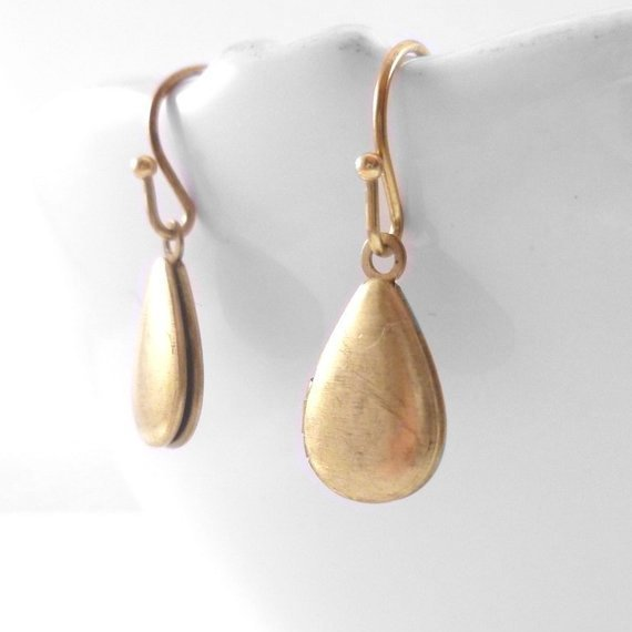 Brass Locket Earrings - vintage style small raw brass teardrop lockets - simple delicate brass ball hooks -Whispering Secrets special gift