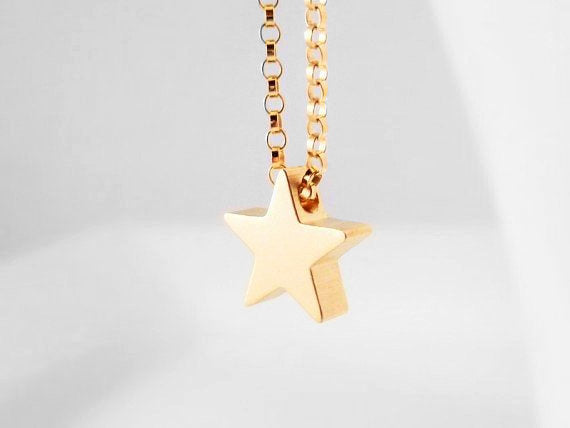 Gold Star Necklace - 14K gold filled simple delicate dainty rolo chain - small shiny gold plated charm award pendant - Baby I'm a SUPER STAR