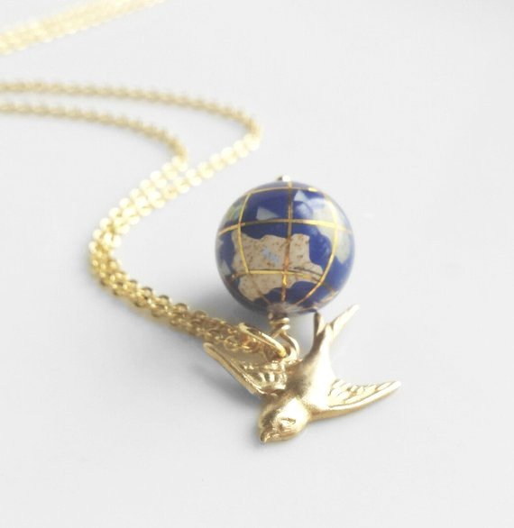 World Globe Necklace - small gemstone Earth ocean bead / traveling brass bird - delicate gold plated chain - Not So Far Away Friend / Love