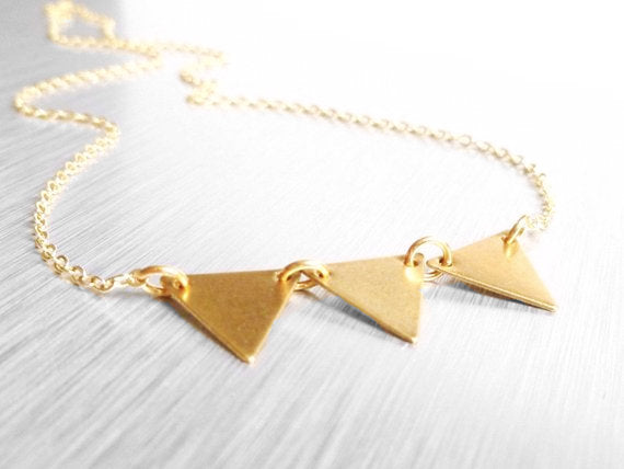 Gold Triangle Necklace - geometric vintage raw brass bunting / banner on delicate gold plated chain - Little Flag Trio - handmade jewelry