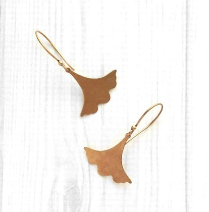 Copper Leaf Earrings - Asian ginkgo leaves in antique finish - simple flat ruffled edge - modern Zen bogo chic design - Bohemian nature