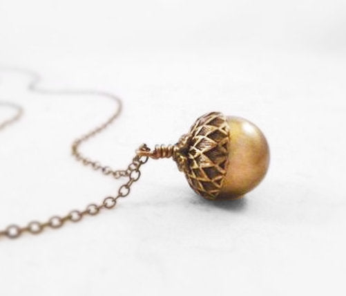 Golden Acorn Necklace - Swarovski pearl in antique bronze on thin delicate aged brass chain - Squirrel Forest Nut