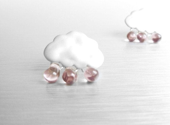 Purple Rain Cloud Earrings- matte finish with .925 sterling silver posts and pale purple glass rain drops - Purple Rain studs