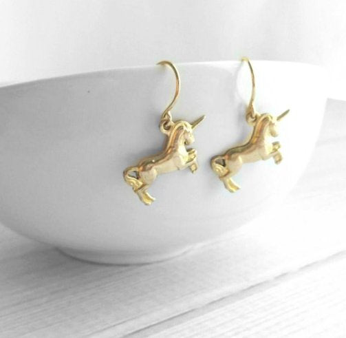 Unicorn Earrings - small gold brass rearing prancing magical mythical creature - fairy tale horse spiral horn - Scotland Scottish symbol