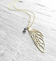 Fairy Wing Necklace - 14K gold fill chain & brass filigree outline - silver diamond shape charm - flight free fly high butterfly faerie soar