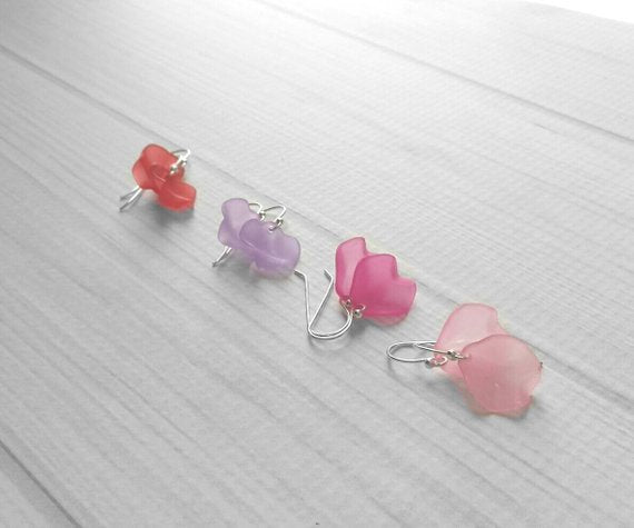 Sterling Silver Flower Earrings - frosted acrylic petals - bridal pastel pink red purple dangle boho hippie minimalist simple lightweight