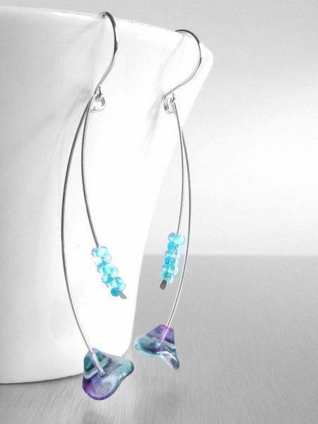 Long Purple Earrings - Argentium sterling silver wire strands 3 inch - delicate glass flower beads - translucent aqua blue / teal / violet