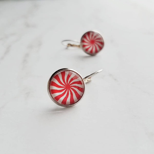 Peppermint Candy Earrings - red white stripe swirl mint - silver leverback hook - sweet treat pinwheel star holiday gift Christmas jewelry