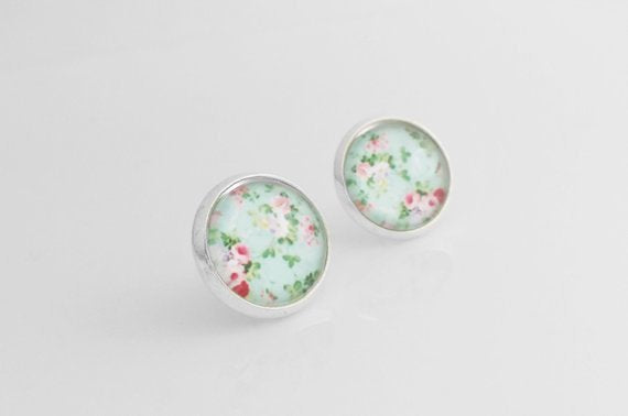 Floral Stud Earrings - pink rose small aqua mint background - petite vintage flower print bubble glass dome / little silver bezel & post