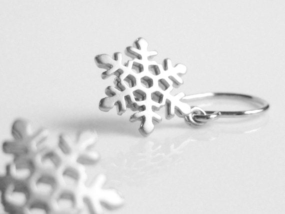 Silver Snowflake Earrings - little dainty dangles on simple hooks