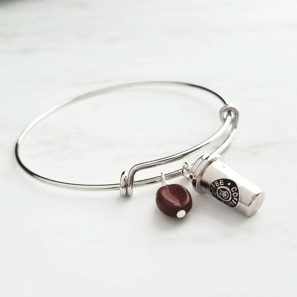 Coffee Charm Bracelet - bangle double loop designer trend - caffeine coffeehouse bean lover - silver wire adjustable gift under 25 - Joe mug