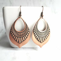 Oxidized Copper Earrings - large tribal teardrop medallions - lightweight dangle - antique rustic red brown raised embossed boho chic