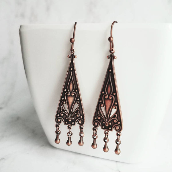 Copper Chandelier Earrings - oxidized dangle teardrops - ornate flourish triangle - handmade antique floral rustic red brown - boho Gypsy