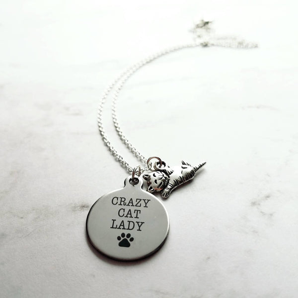 Crazy Cat Lady Necklace - silver pendant / kitty charm - small simple dainty link chain - spinster hermit humor funny handmade pet jewelry