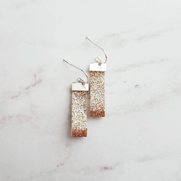 Gold Glitter Looped Earrings on silver hooks