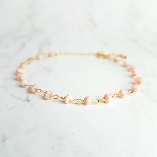 Pink Stone Bracelet on dainty gold adjustable chain, tiny rhodocrosite gemstone beads, thin dainty delicate jewelry