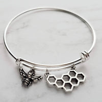 Bee & Honeycomb Silver Bangle Bracelet - adjustable double loop wire design