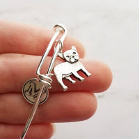 French Bulldog Bracelet - personalized small letter charm/pet Frenchie on simple silver wire adjustable bangle - custom initial gift - Constant Baubling