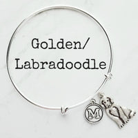 Labradoodle Bracelet - personalized small letter charm/pet Laborador Poodle mix on simple silver wire adjustable bangle - custom initial - Constant Baubling