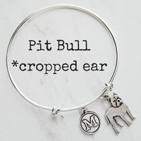 Pit Bull Bracelet - (cropped ear) silver bangle adjustable pitbull pet dog charm - personalized letter monogram - rescue animal bully gift - Constant Baubling