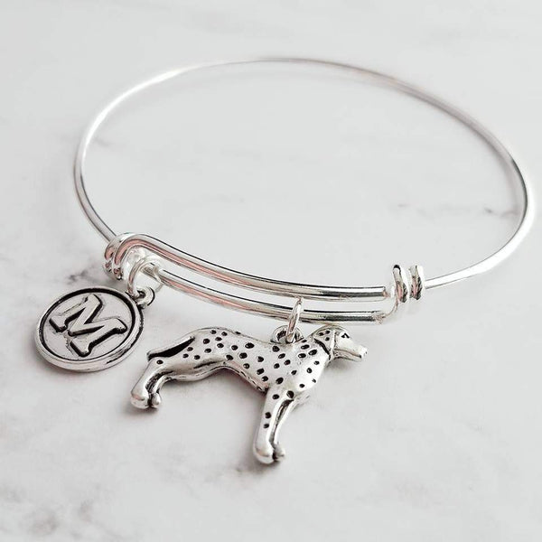 Dalmatian Dog Bracelet - personalized small letter charm/pet on simple silver wire double loop adjustable bangle - custom initial gift - Constant Baubling