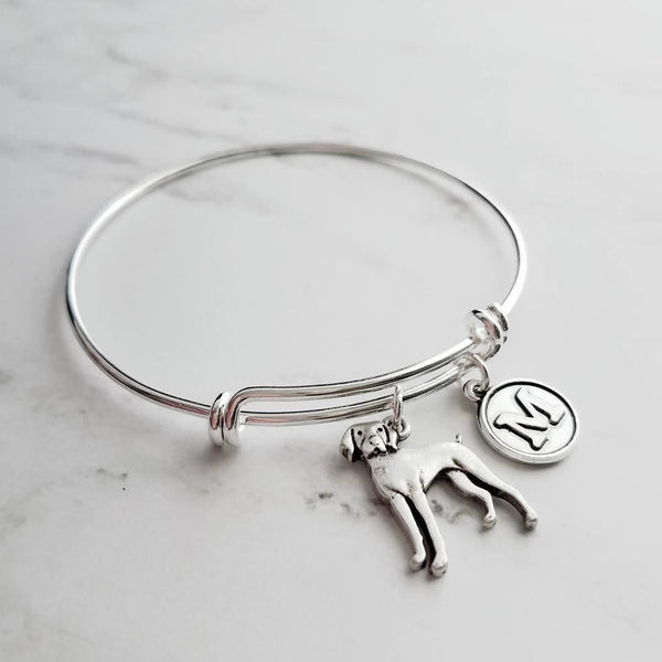Weimaraner Bracelet - personalized small letter charm/hunting breed pet on simple silver wire adjustable bangle - custom initial - Constant Baubling