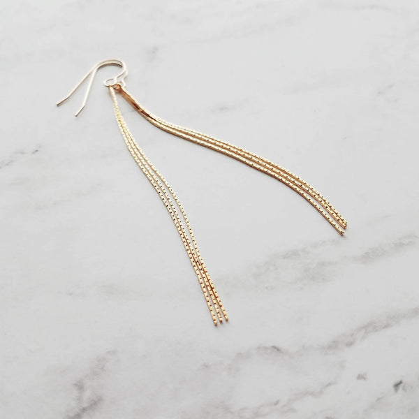 Long Chain Earrings - 14k gold fill ear wire hooks w/ narrow line wisps - skinny minimalist simple lightweight - sexy day to evening look - Constant Baubling