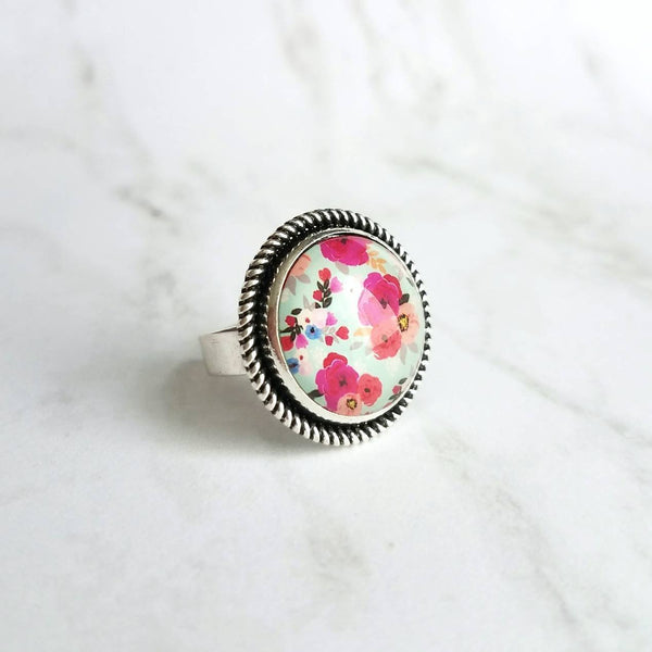 Floral Print Ring - antique silver adjustable base - fuchsia salmon peach pastel flower garden on blue mint background - size 7 8 9 10 - Constant Baubling