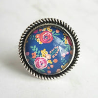 Silver Ring - wide band w/ round floral print on cobalt navy blue background - handmade large statement style rose garden flowers/leaves - Constant Baubling