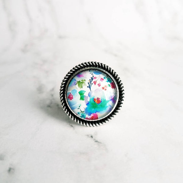Large Silver Ring - watercolor floral print under glass - antiqued setting/wide band - blue purple red flower garden - adjustable 7 8 9 10 - Constant Baubling