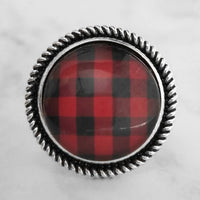 Red and Black Plaid Ring - buffalo check winter flannel lumberjack style large statement ring w/ adjustable wide silver band - size 7 8 9 10 - Constant Baubling