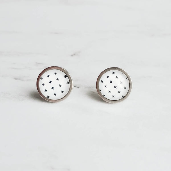 X Earrings - black and white Swiss cross studs - small plus sign symbol - round hypoallergenic stainless surgical steel post - tiny pattern - Constant Baubling