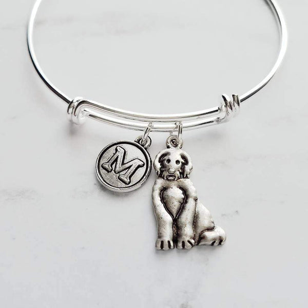Goldendoodle Bracelet - personalized small letter charm/pet retreiver poodle mix on simple silver wire adjustable bangle - custom initial - Constant Baubling