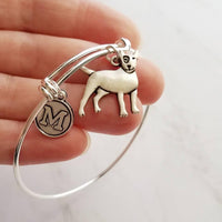 Bull Terrier Bracelet - personalized small letter charm/pet bully on simple silver wire adjustable bangle - custom initial gift - Constant Baubling