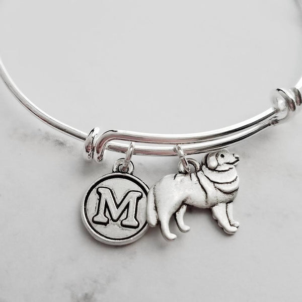 Great Pyrenees Dog Bracelet - personalized small letter charm/pet on simple silver wire double loop adjustable bangle - custom initial - Constant Baubling