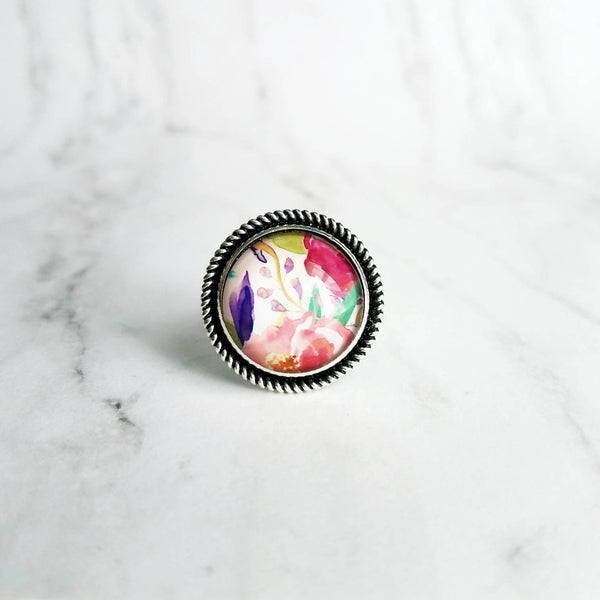 Watercolor Flowers Ring - pastel macro print pink purple aqua yellow green - garden floral pattern - silver round adjustable size 7 8 9 10 - Constant Baubling
