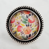 Watercolor Floral Ring - pastel flowers & leaves in pink purple blue yellow peach green - garden pattern - silver adjustable size 7 8 9 10 - Constant Baubling
