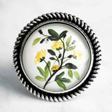 Yellow Flower Branch Ring - round large antique silver adjustable base - garden shades of green leaves/white background - size 7 8 9 10 - Constant Baubling