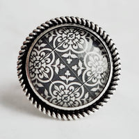 Black & White Ring - damask pattern ornate floral clover classic print - antique silver round adjustable wide band - size 7 8 9 10 - Constant Baubling
