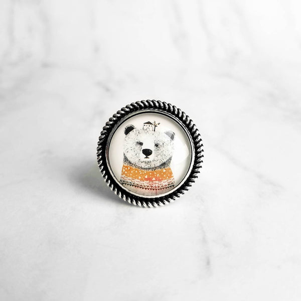 Goldilocks and the Three Bears Ring - whimsical fairtytale winter bear story - mama papa baby house - silver adjustable band size 7 8 9 10 - Constant Baubling