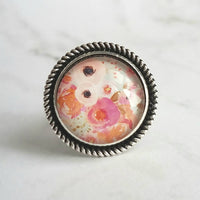 Pastel Flower Ring - round watercolor painted style peony & ranunculus in soft pinks/orange/mint - wide silver band - size 10 9 8 7 - Constant Baubling