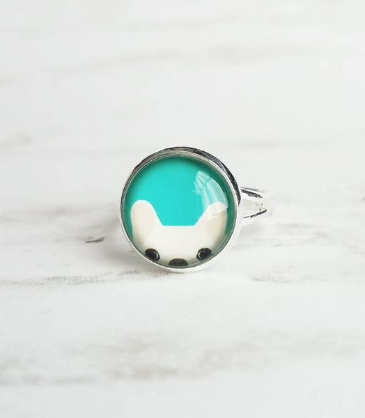 French Bulldog Jewelry - ring w/ peeking white bat eared Frenchie dog on turquoise blue/green - adjustable size 6.5 - 7 8 9 - pet gift - Constant Baubling