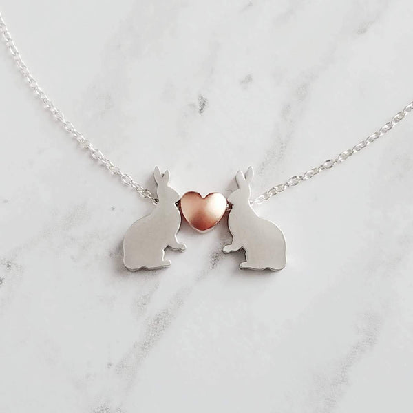 Bunny Necklace - small silver rabbits & rose gold heart - .925 sterling silver chain - wife anniversary love - girlfriend Easter gift - Constant Baubling