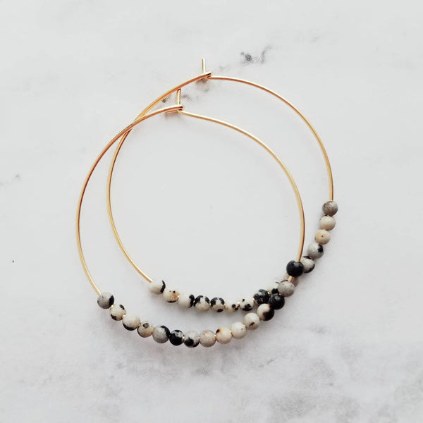 Gold Hoop Earrings - delicate thin circles w/ tiny black grey ivory dalmatian jasper beads - every day handmade jewelry - small & simple - Constant Baubling