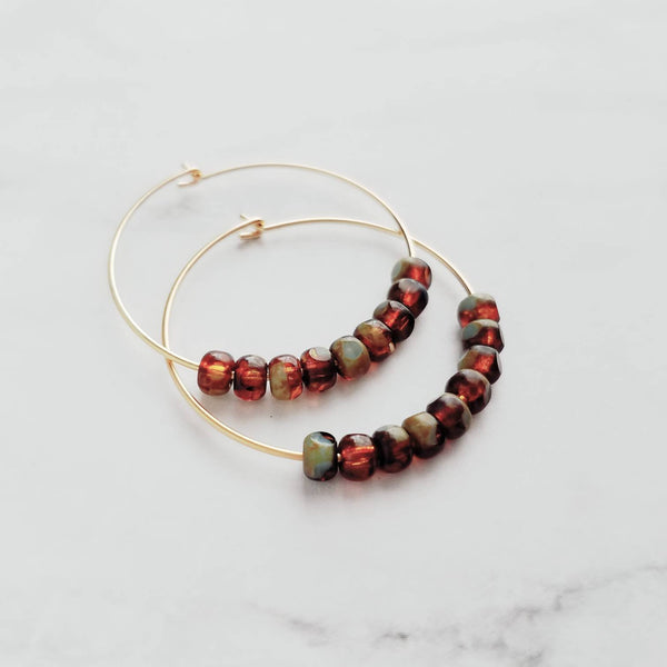 Tortoise Hoop Earrings - delicate thin gold circles w/ small beads - brown/sage olive green - every day handmade jewelry - dainty & simple - Constant Baubling